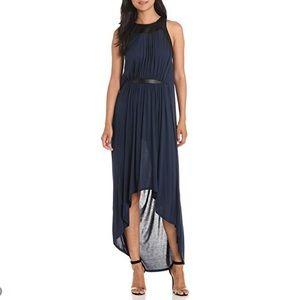Navy Greek Goddess High-Low Dress Leather Trim